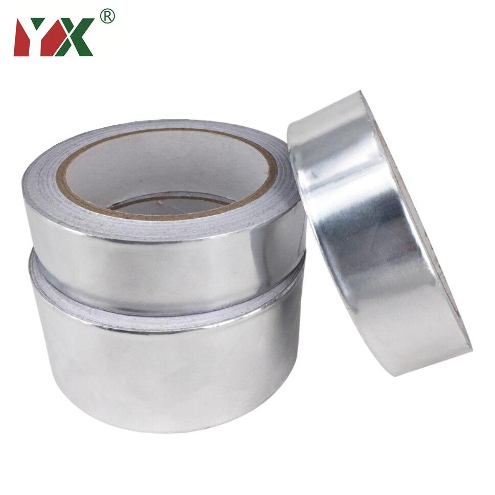 1 Roll 20M Adhesive Sealing Tape Fireproof Heat Resistance Pipe Repair High Temperature Resistant Aluminium Foil Adhesive Tape