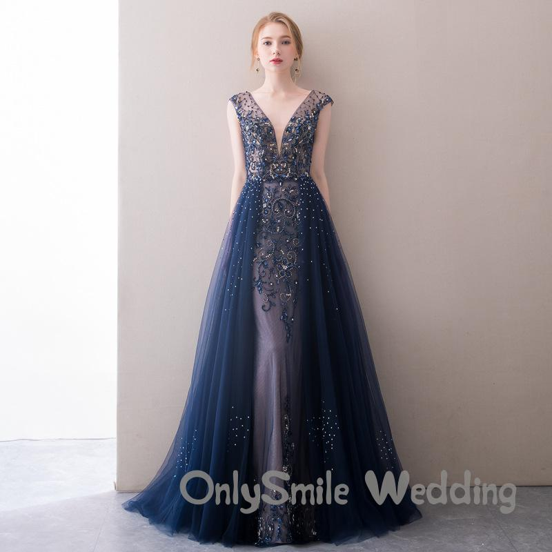 Sexy V Neck Mermaid Prom Gowns Sheer Long Navy Blue Tulle Beaded Evening Pageant Dresses Formal Gown Robe De Soiree