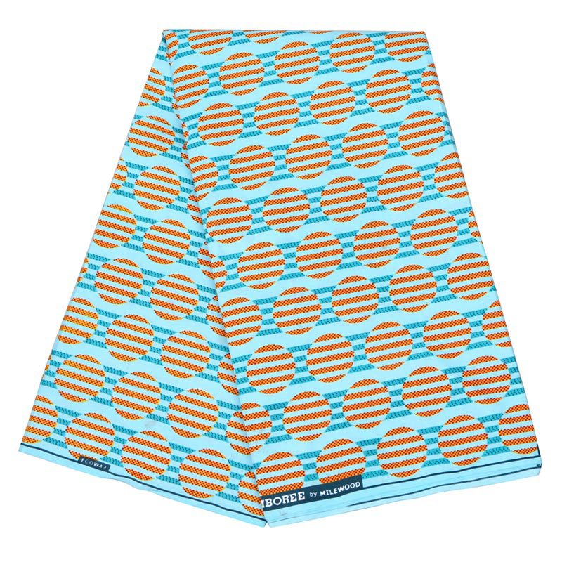 2019 Wax Fabric 100% Polyester African Orange & Sky-Blue Color Print Fabric Pagne Wax 6Yards\set