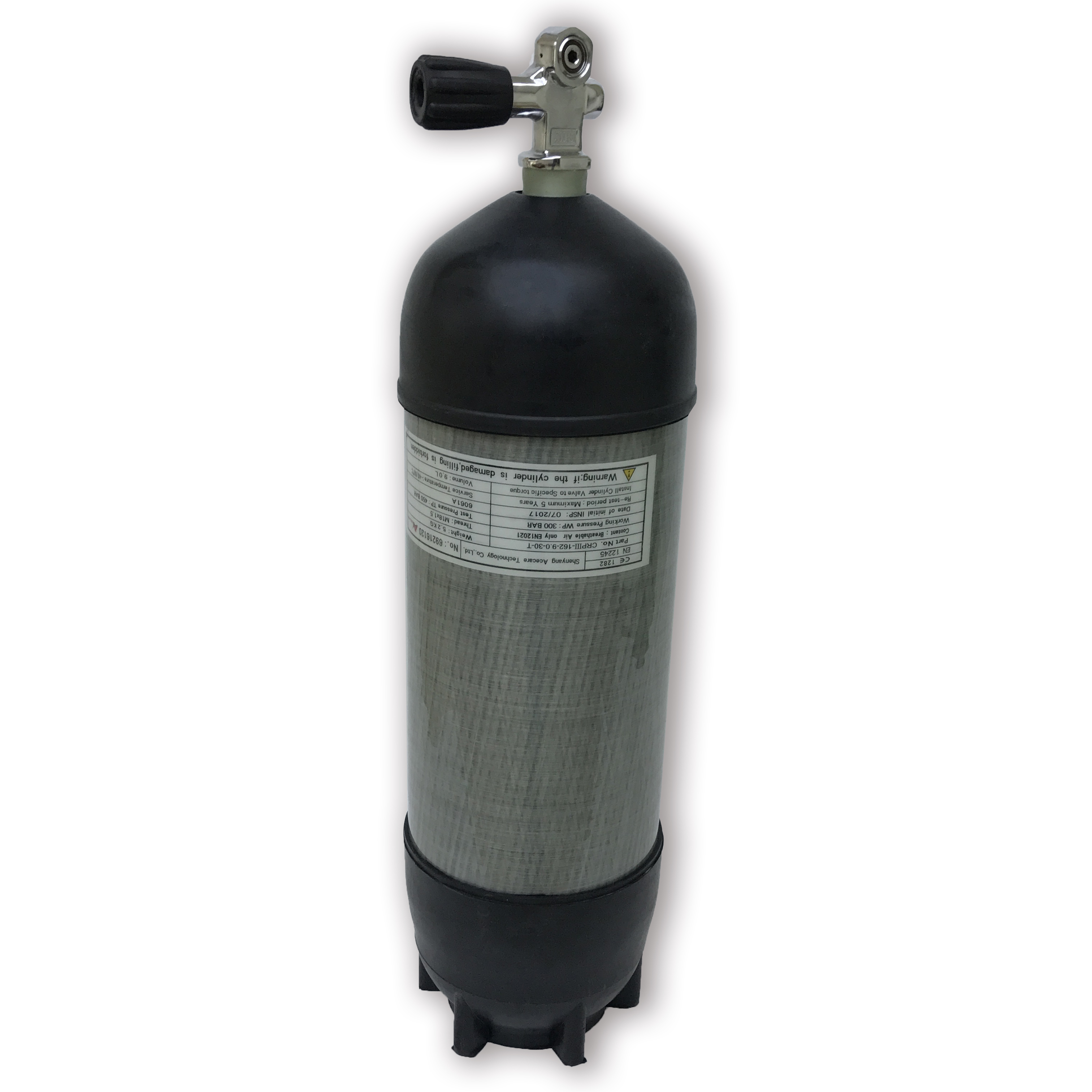 Acecare 9L CE 300Bar Gas Cylinder High Pressure Air Bottle With Protective Rubber&Diving Valve PCP Tank Airforce Condor/Airsoft