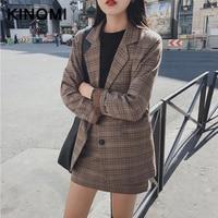 KINOMI Retro Plaid Blazer Sets Single breasted Jacket Pencil Skirt Vintage 2 Pieces Skirt Suits Female Office Ladies Blazer Suit