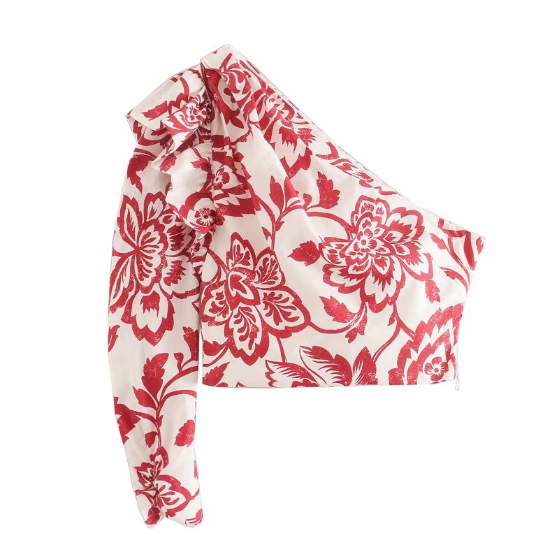 New Women One Shoulder Pleated Ruffles Short Shirt Totem Flower Print Slim Blouses Women Roupas Femininas Chemise Shirts LS6411
