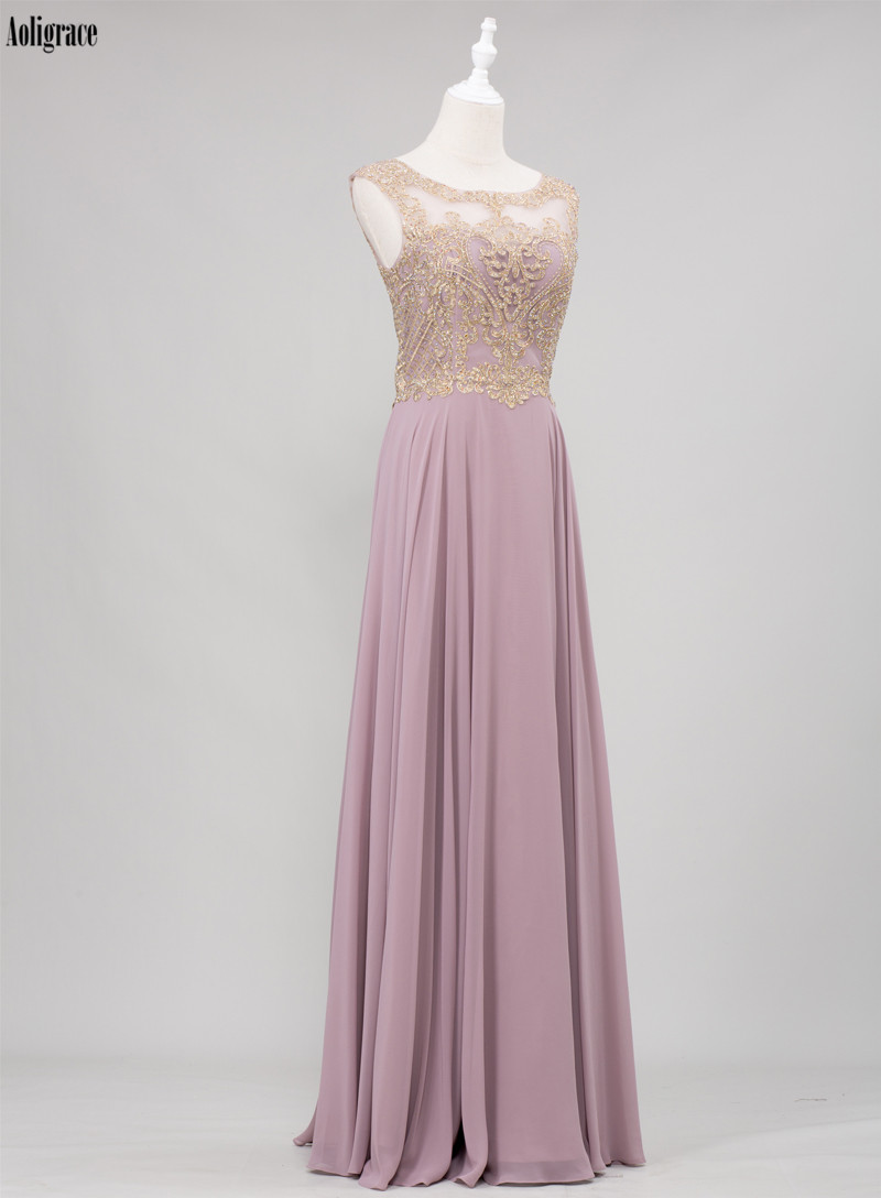Crystal Scoop Gold Lace Appliques Sleeveless Chiffon Bridesmaid Dress 2