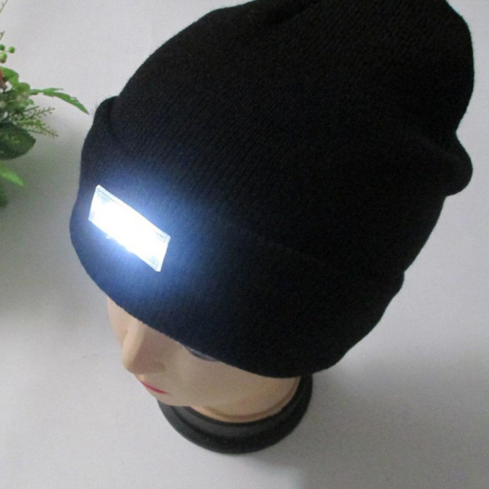 5 LED Light Hat Warm Winter Beanies Gorro Fishing Angling Camping Black Caps Knitting Woolen Hat