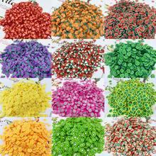 1000pc 20 cores fatias da arte do prego do fruto, 3d frutas confetes pinho maçã/morango/toranja apple adesivos da arte do prego fatias, h543