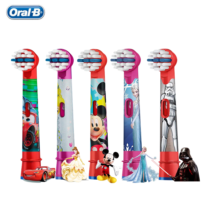 Oral B Kids Brush Heads Electric Toothbrush Replacement Heads Cartoon Round Rotation Soft Refills for Ages 3+ Children 4pc/pack image