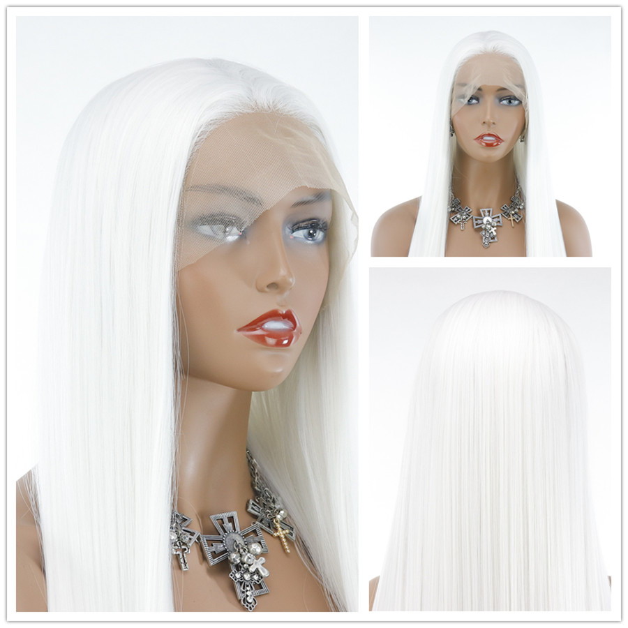 Pure White Long Straight Hair Wigs Synthetic 13*4 Lace Front Wig High Temperature Fiber with Baby Hair For Women Free ship
