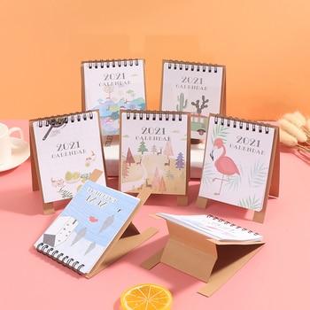 1pc Colorful 2021 Mini Desk Calendar DIY Portable Desktop Calendars Daily Schedule Planner