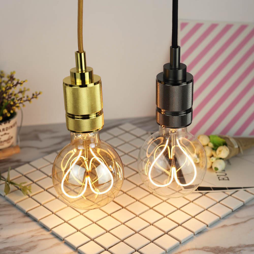 G95 LED Dimmable Retro Loving Heart Filament Edison Bulb Party Bar Decoration Incandescent Light Bulbs E27 Base