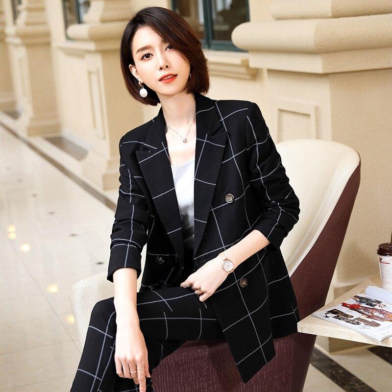 2019 Autumn Occupation Suit Female Temperament Loose Black Waist Grid Medium Length Money Two-piece Set Coat