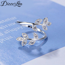 Bagues en argent Sterling 925 avec feuille de cristal pour femmes, taille ajustable, bijoux de fête de mariage pour filles, nouvelle collection