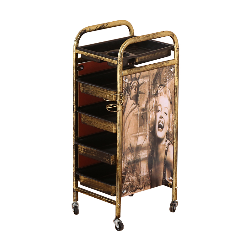 Multi-layer Mobile Storage Rack Special For Hairdressing And Hairdressing Barbershop Ironing Tool Bar-bar And Retro Small Cart