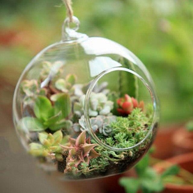 10pcs Clear Decor Ball Globe Shape Transparent Hanging Glass Vase Flower Plants Home Garden Shows 3