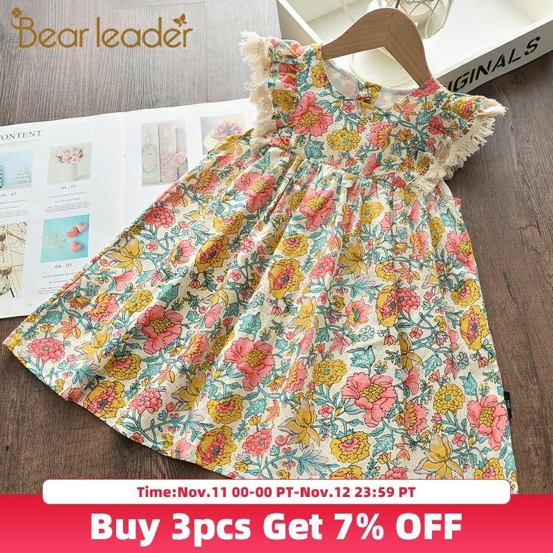 Urso líder meninas vestidos florais 2020 nova moda doce crianças flores trajes crianças sem mangas vestidos da criança roupas do bebê
