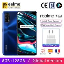 Versão global realme 7 pro 8gb 128gb smartphon snapdragon 720g 6.4 cameras amtela amoled 64mp quad câmeras 65w superdart carga nfc