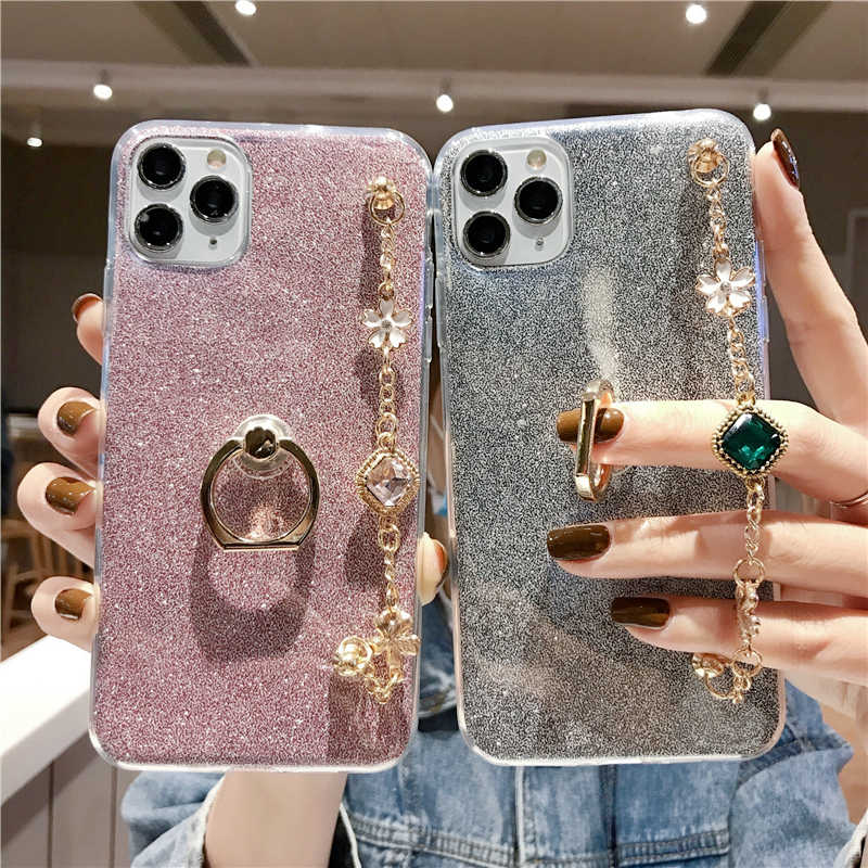 Mode Ultra-Dunne Siliconen Diamant Luxe Armband Lanyard Telefoon Case Voor Xiaomi Redmi Note 5 6 7 7A 8 8T 8A Pro Case Cover