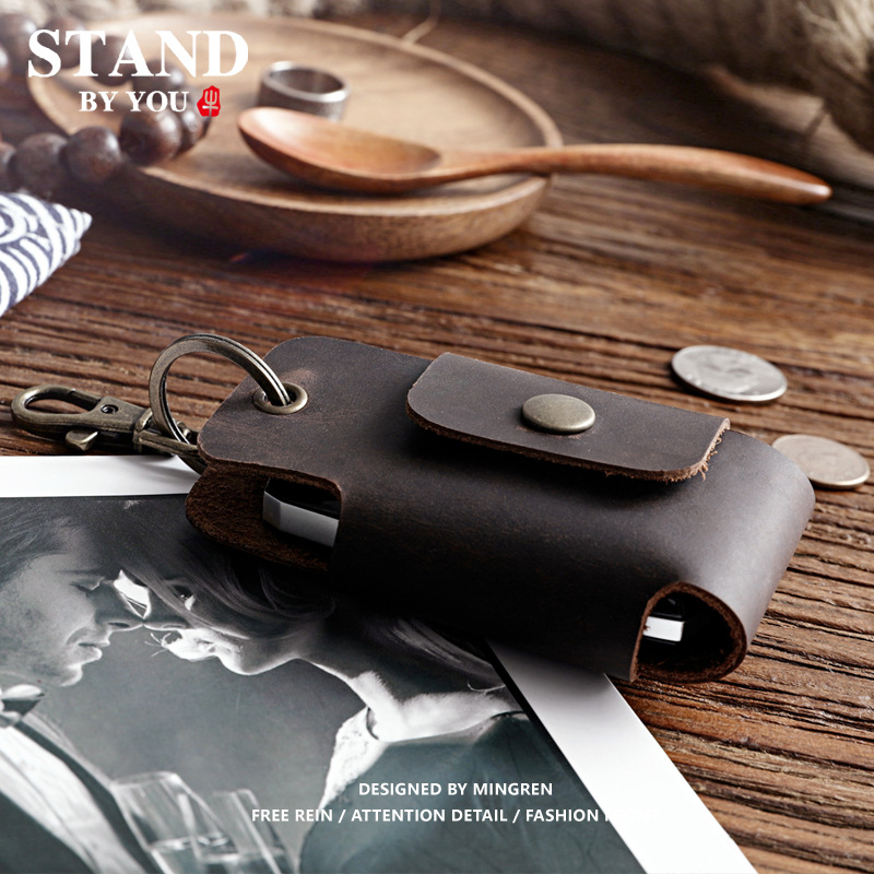 100% Genuine Leather Car Key Holder for Men Vintage Crazy Horse Leather Waist Hanged Small Key Case Wallet Keys Organizer Male