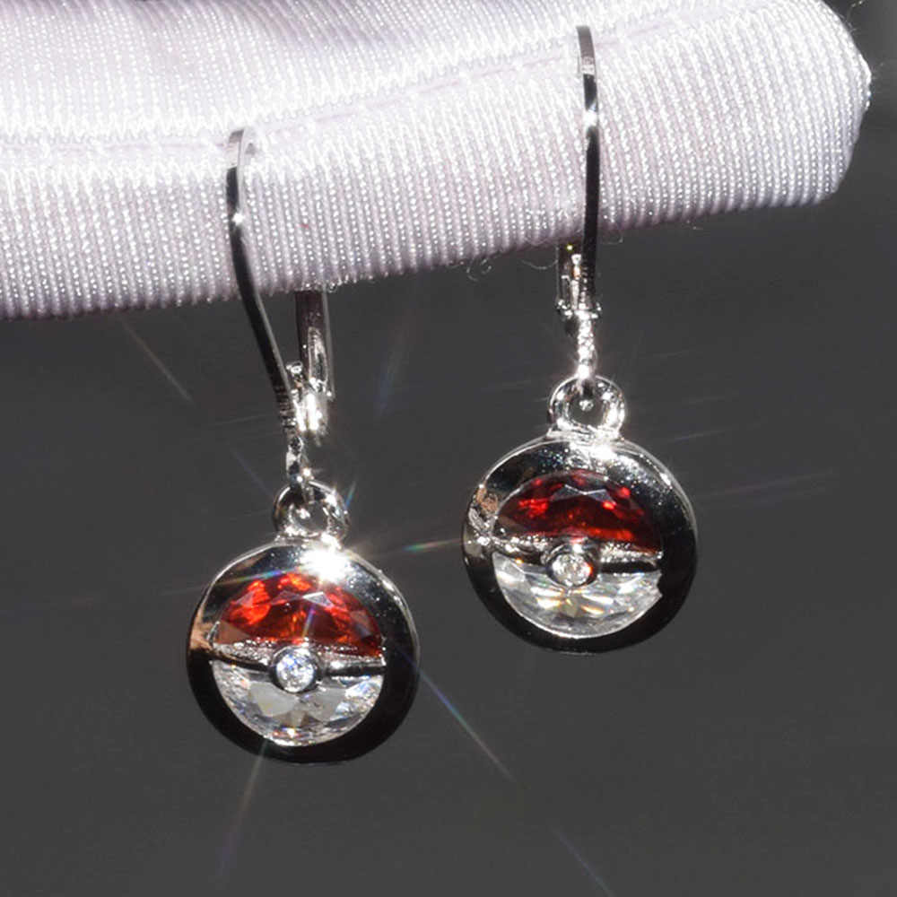 Pokemon Pikachu Silver Plated Drop Earrings Pokeball Zircon Stone Earrings 2019 New Fashion Jewelry