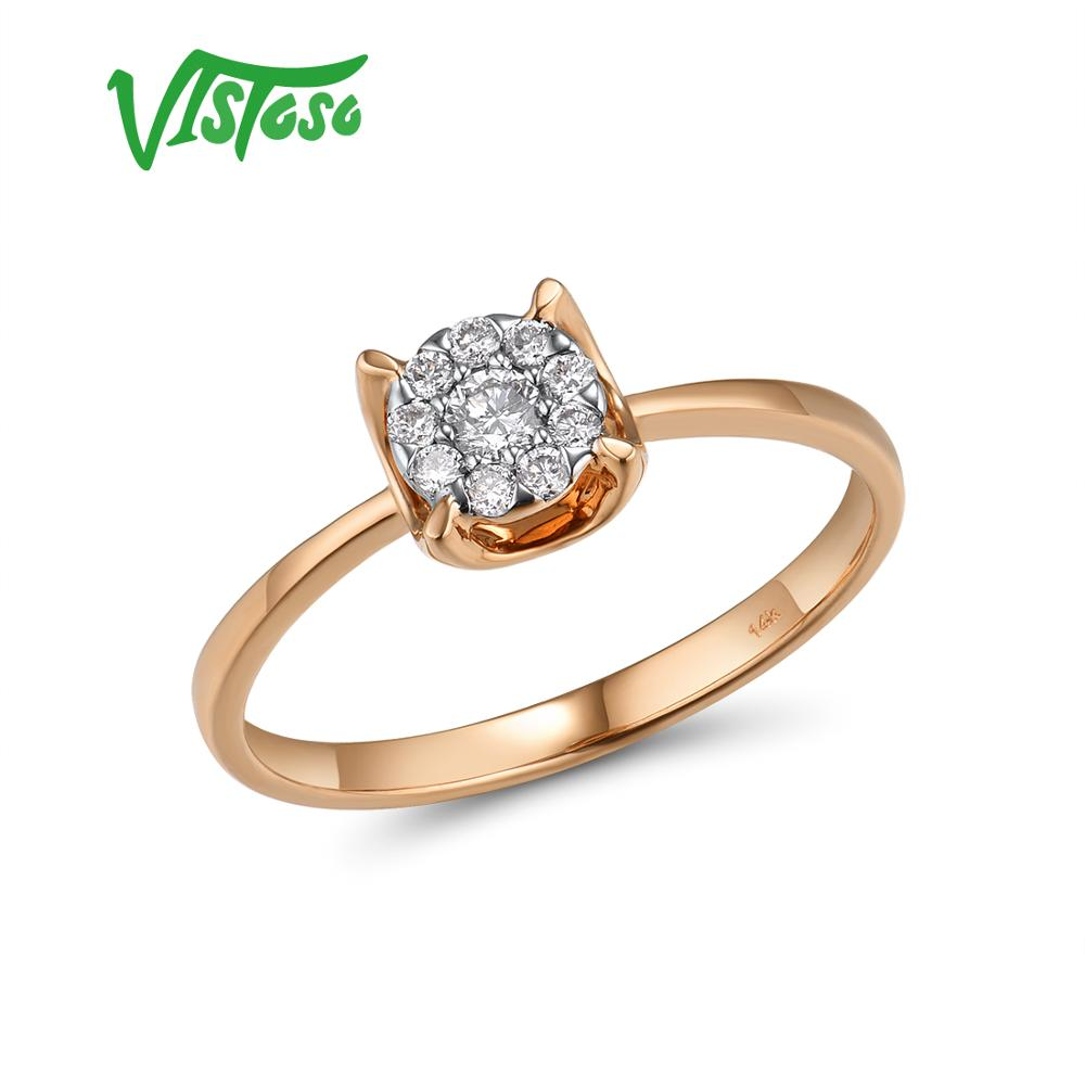 VISTOSO Pure 14K 585 Rose Gold Sparkling Diamond Delicate Round Cirle Ring For Women Engagement Anniversary Trendy Fine Jewelry