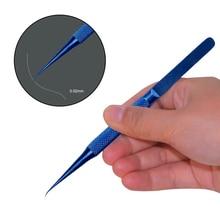 Professional Titanium Alloy Tweezers 0.15mm Edge Precise Fingerprint Fly Line Picker Straight Bend For iPhone Repair