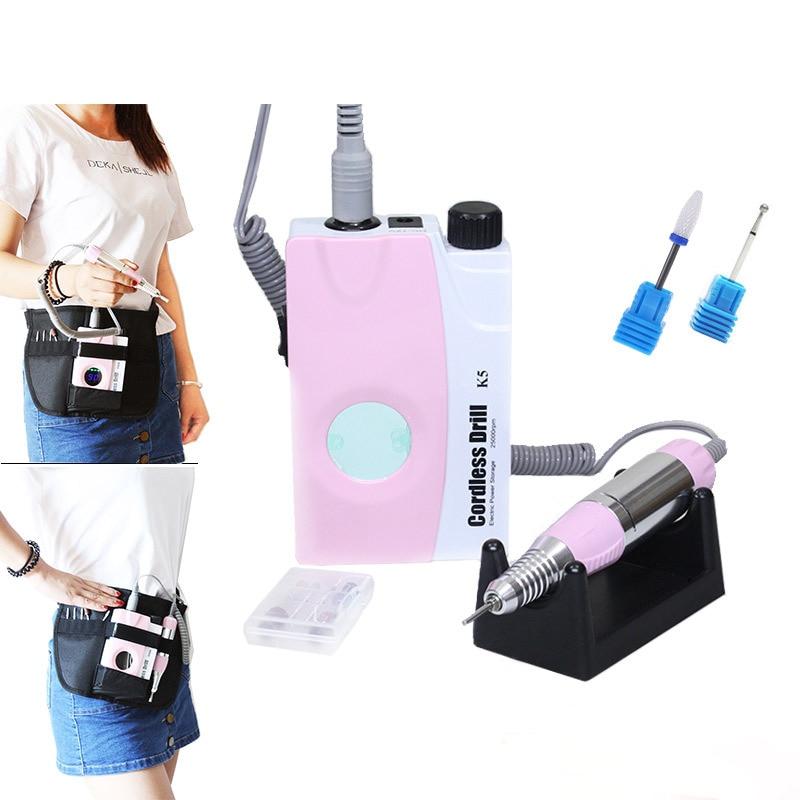 Розовый перезаряжаемый Электрический полировальный станок для ногтей, маникюрные сверла, пилочка для ногтей, набор для педикюра с ЖК дисплеем - 3