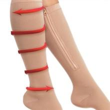 Compression Socks Support Anti-Fatigue-Stocking Zipper-Up Knee-Length 1-Pair Leg Unisex