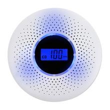 2 в 1 ЖК-дисплей детектор окиси углерода Комбинированный Детектор Дыма CO сигнализация со светодиодный светильник мигающий Предупреждение для домашней безопасности