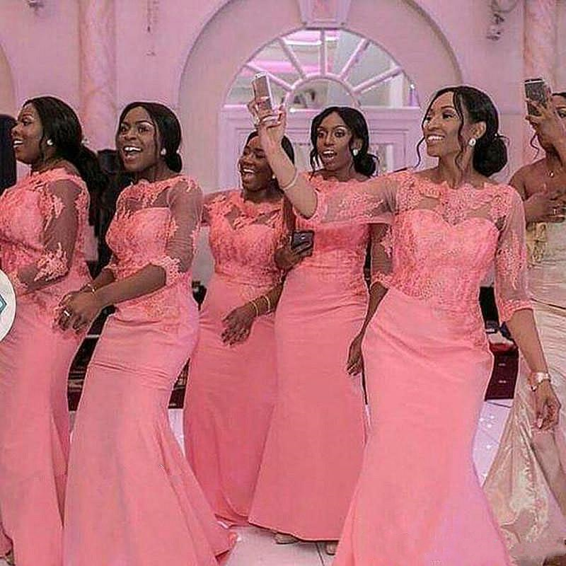 2019 Gorgeous blush pink Mermaid african Plus Size Bridesmaid Dresses long sleeves Wedding Guest Dress vintage lace Cheap formal