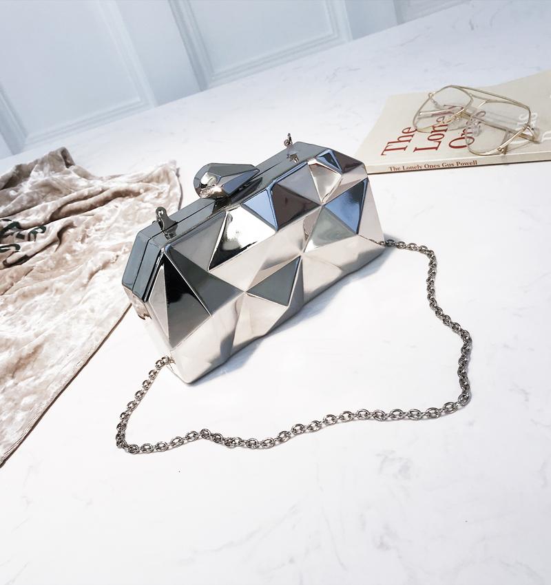 Hexagon Women Handbags Metal High Quality Clutches Fashion Geometric Mini Party Black Evening Purse Silver Bags Gold Box Clutch (24)