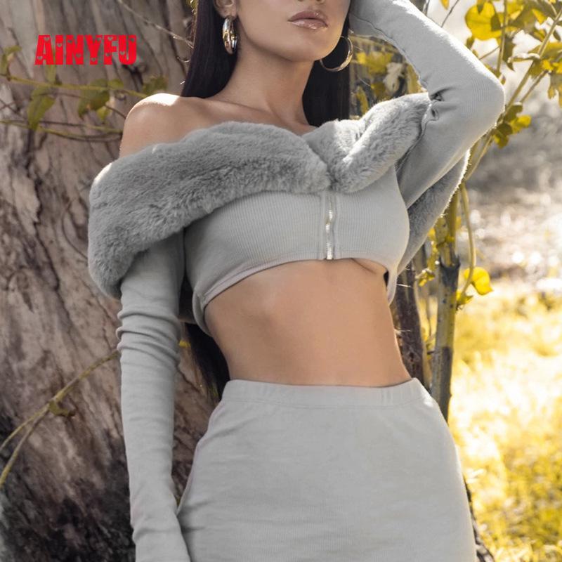 Long Sleeve Slash Neck Sexy Zippers Crop Tops Mini Skirt Women 2 Pieces Set Fur Solid Office Ladies Outfits Autumn Winter Femme