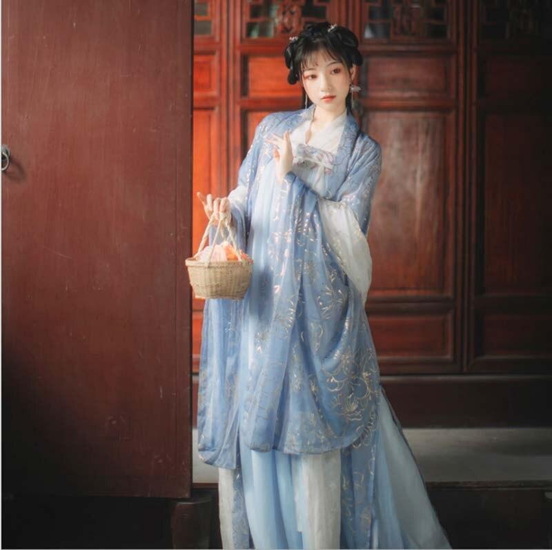 Women Hanfu Chinese Ancient Tradition Blue Dress Kimono Hanfu Fantasia Women Carnival Cosplay Costume Outfit For Lady Plus Size