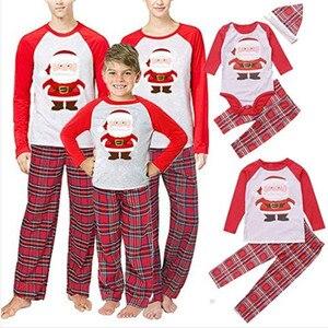Image 2 - חג המולד משפחה סט משפחה התאמת בגדי 2019 חג המולד מפלגה למבוגרים בגדי ילדים פיג מה סט כותנה תינוק Romper הלבשת