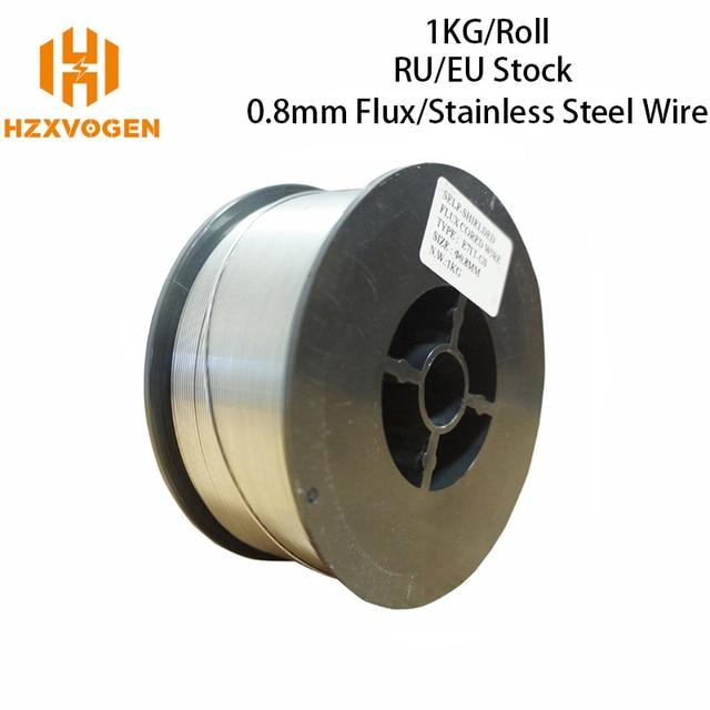 HZXVOGEN 미그 와이어 가스 스테인레스 스틸 와이어 가스 레스 E71T GS 플럭스 코어 와이어 0.8mm 1.0mm 1 롤 미그 용접 액세서리