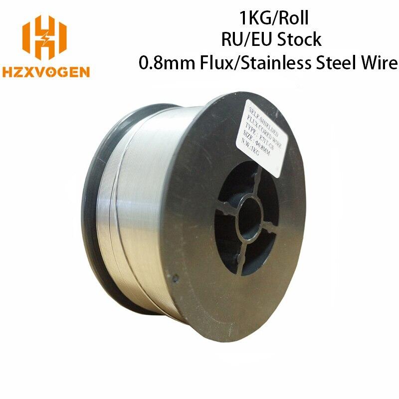 HZXVOGEN Mig проволока из нержавеющей стали, газовая проволока без газа, проволока с сердечником из флюса, 0,8 мм, 1,0 мм, 1 рулон, сварочные принадлеж...