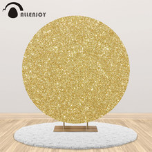 Allenjoy Golden Round Backdrop Fabric Twinkle Pattern Birthday Wedding Party Table Cover Circle Sequin Background Photophone