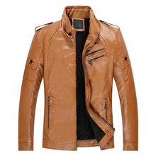 Men 2019 Autumn New Casual Thick Fleece Pockets Leather Jacket Coat Men PU Leather Motorcycle Vintage Faux Leather Jackets Men