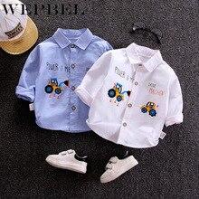 WEPBEL Autumn Shirts Baby Boys Long Sleeve Cartoon Car Print Shirts