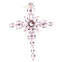 45x33mm Classic Created Long Cross Shape Pink Kunzite Woman's Gift Silver Pendant