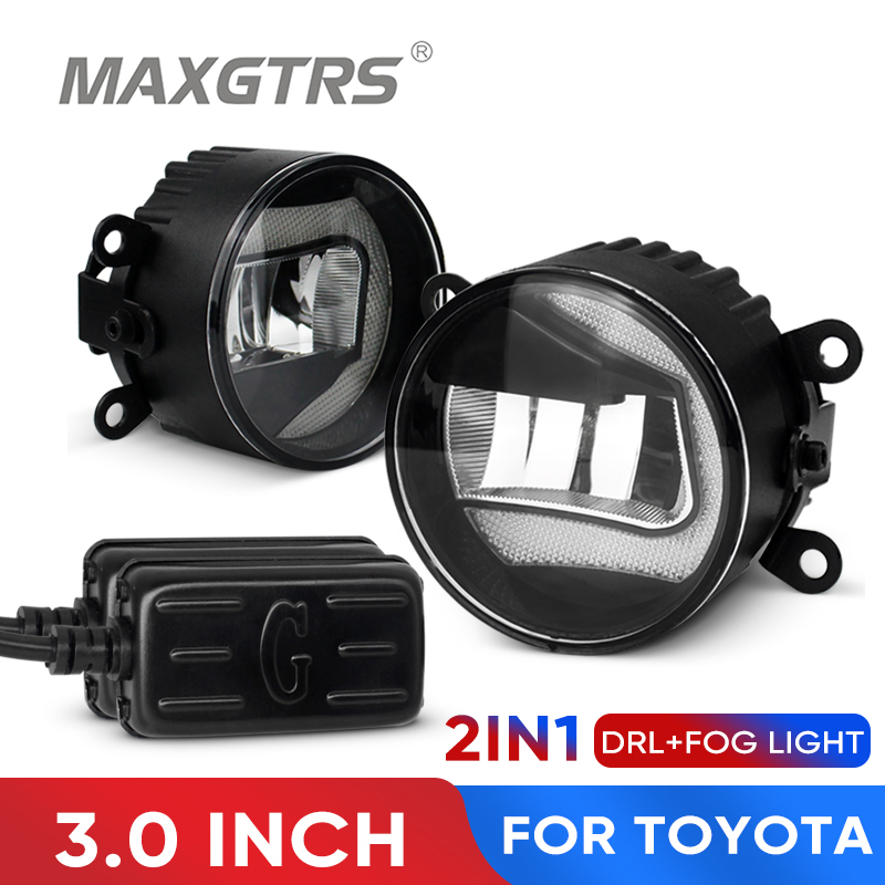 2x 2IN1 3.0 inch Fog LED Lights Assembly Daytime Running Light DRL For Toyota Camry Corolla Prius Rav4 Wish Yaris Auris Aygo image