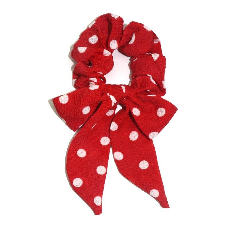 Femmes banderoles chouchous à pois imprimé Floral élastique noeud cheveux corde fille cheveux cravates coréen doux cheveux accessoires chapeaux 22