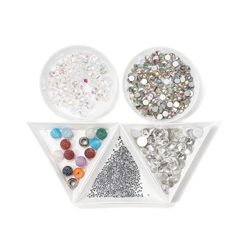 10pcs/lot Environmental Plastic Round Triangle Plate Rhinestone Nail Art White Container For Bead Display Tray Handmade Supplies