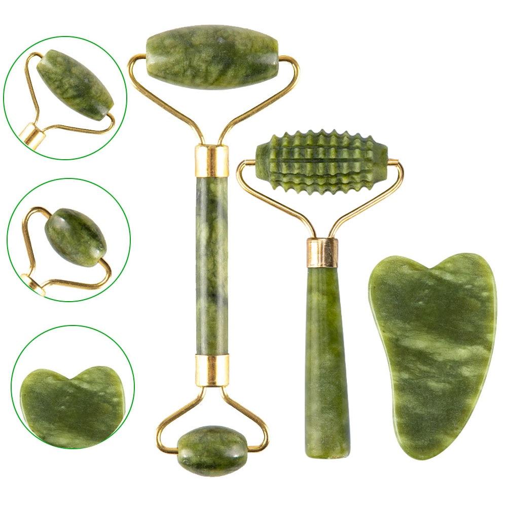 2 шт., Нефритовый массажный роликовый Набор для лица, натуральный камень, зеленый массажер для лица, Gua Sha, лифтинг для лица, шеи, для похудения,...