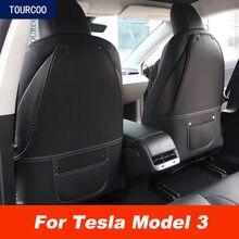 Protecteur de siège arrière de voiture, protection Anti-coup de pied pour Tesla modèle 3, Modification de style de voiture, protection Anti-salissure en cuir pour enfants, 2 pièces