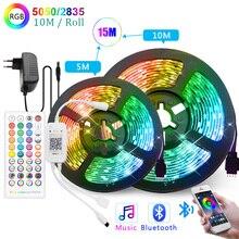 Bluetooth音楽 5 メートル 10 メートル 15 メートルledストリップライト 5050 smd 2835 柔軟なリボンルセスledライトストリップティラフィッタled rgb ledの装飾