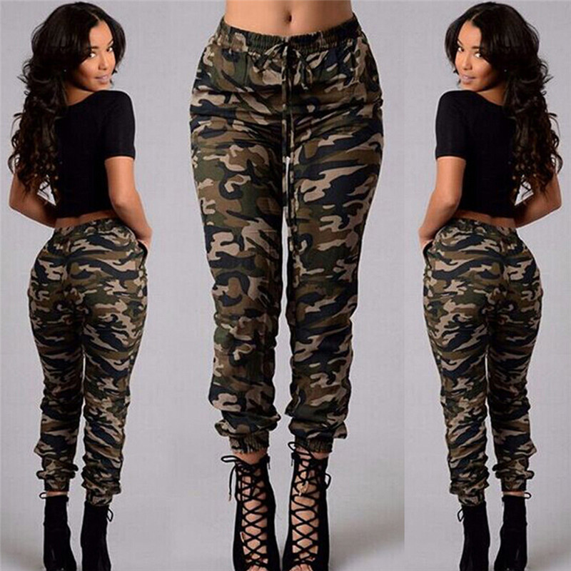 2019 Fashion Stretch Military Camouflage Pants Women Army  High Waist Loose Camo Pants Casual Trousers Street Jogger Sweatpants