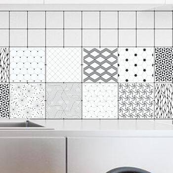 Tile Stickers Retro Black White geometry Wall Stickers Bathroom Kitchen Pvc Plat Walpaper Wall Decal 100x20cm fr0338 plat