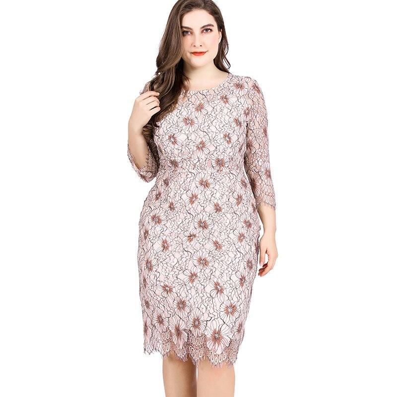 Miaoke Ladies Large Size Lace print Sexy Dress High Quality Clothing Fashion elegant Plus Size Women midi party night dresses(China)