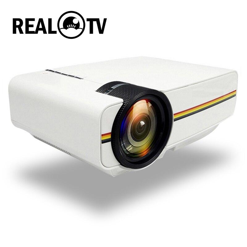 Реальный ТВ YG400 YG410 Мини проектор Поддержка 1080P 1800 люмен портативный домашний кинотеатр USB HDMI-совместимый 3D Beamer бас-динамик