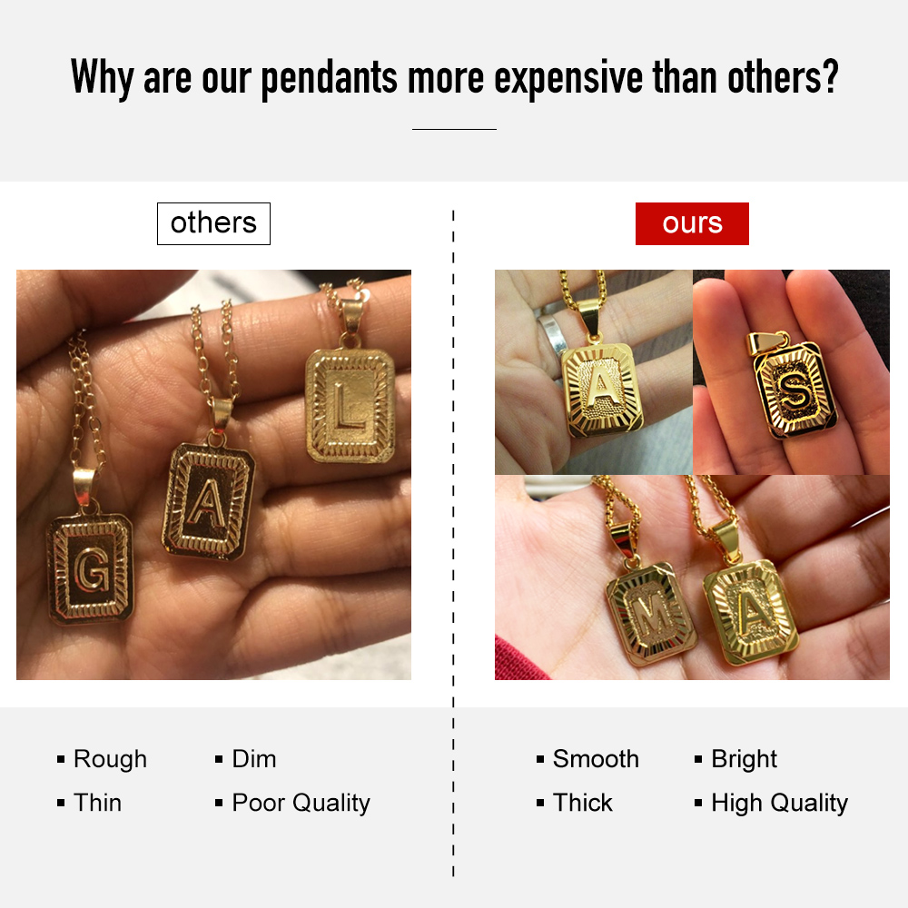 A-Z Pendant Letter Necklace for Men Women Stainless Steel Curb Cuban Chain Wholesale Jewelry US Stock 18inch DGP62