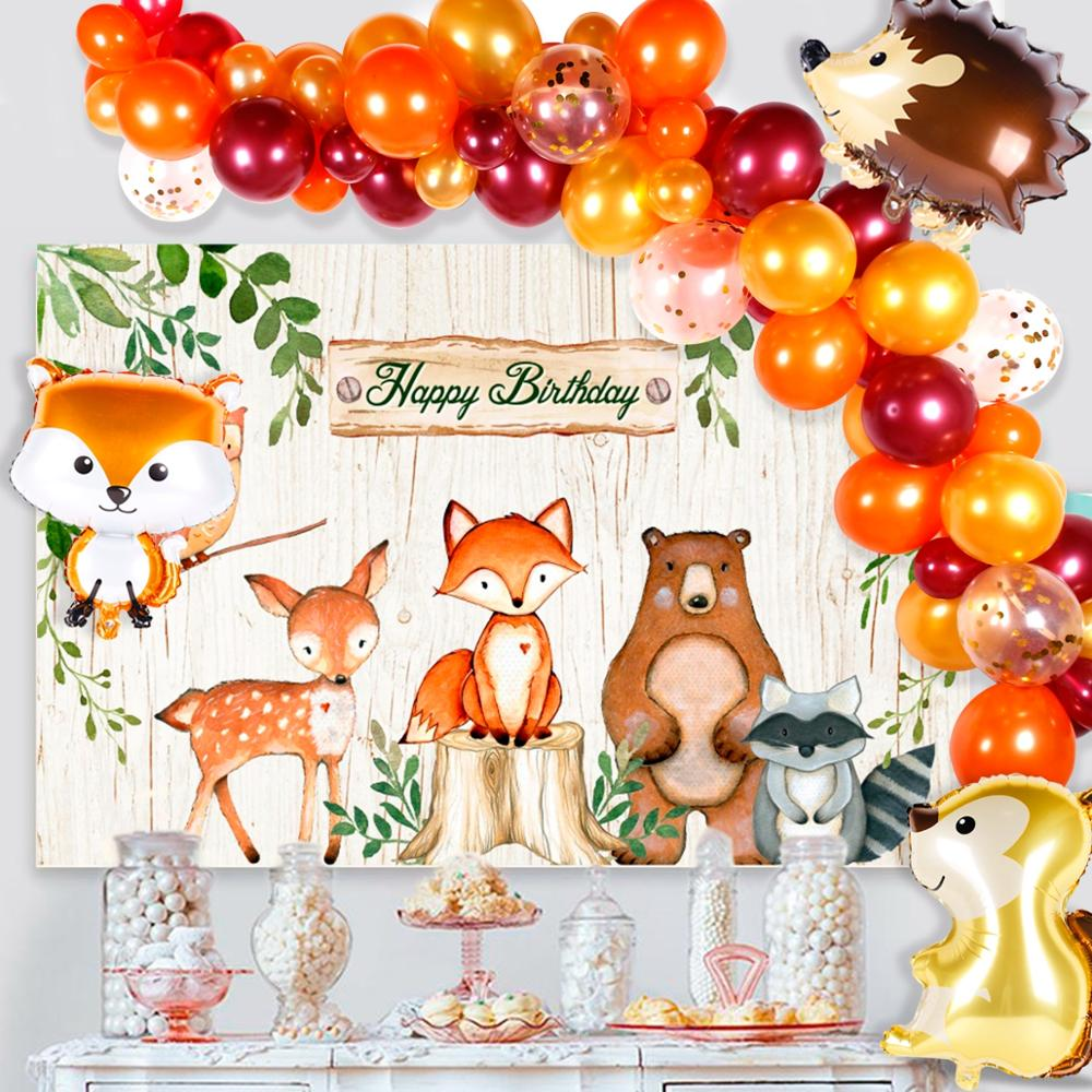 QIFU Woodland Party Backdrop Balloon Woodland Party Jungle Safari Birthday Party Decoration Kids Animal Forest Party Supplies